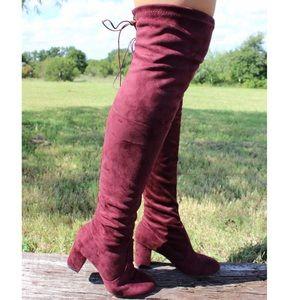 Maroon High Knee Boots